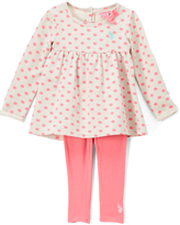 U.S. Polo Assn. Coral Dot Babydoll Dress & Leggings - Toddler