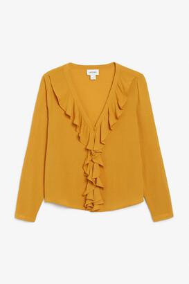 Monki Long-sleeve ruffle blouse