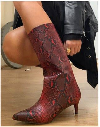 ASOS DESIGN Roberts pull-on mid-heeled boots in red snake