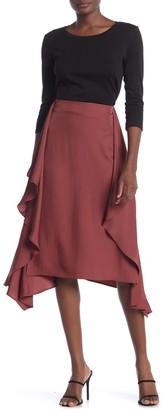 Vince Tie Front Satin Midi Skirt