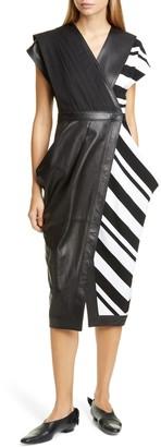 Proenza Schouler Stripe Silk Crepe & Leather Midi Wrap Dress