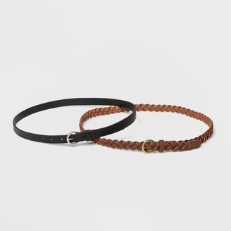 Universal Thread Women's 2pk Belt - Universal ThreadTM Braid/Smooth