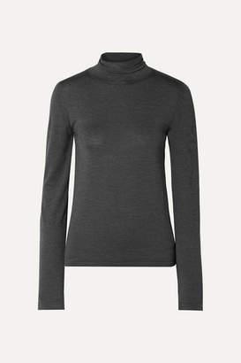 The Row Margita Stretch-silk Turtleneck Sweater - Charcoal