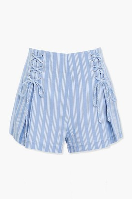 Forever 21 Striped Lace-Up Shorts
