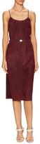 Halston Suede Side Split Cami Dress