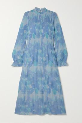 Ganni Ruffled Pleated Printed Georgette Midi Dress - Sky blue