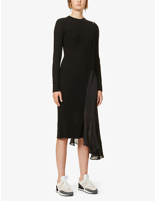 Sacai Asymmetric wool and satin midi dress