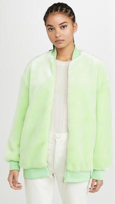 Tibi Zip Up Faux Fur Jacket
