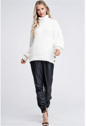 Emory Park Turtleneck Long Sleeve Slide Slit Sweater With Button Detail