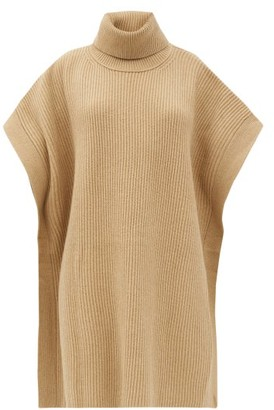 Joseph Roll-neck Rib-knitted Wool Poncho - Camel