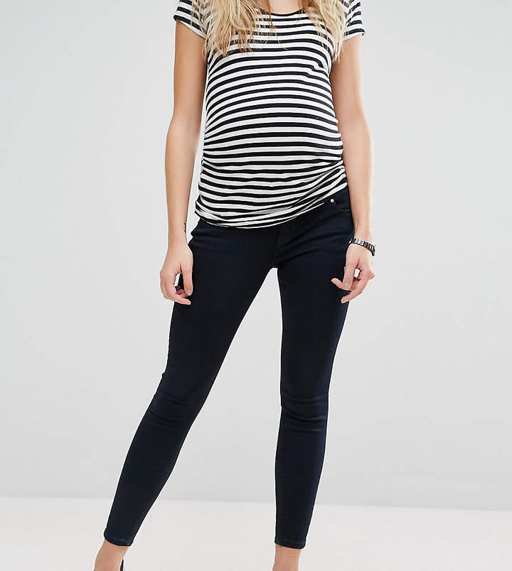 Asos RIDLEY Skinny Jeans in Petunia Blackened Blue With Under the Bump Waistband