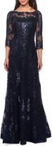 La Femme Metallic Lace Mesh-Top Gown