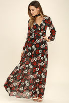 LuLu*s Parade of Poppies Black and Red Floral Print Maxi Dress