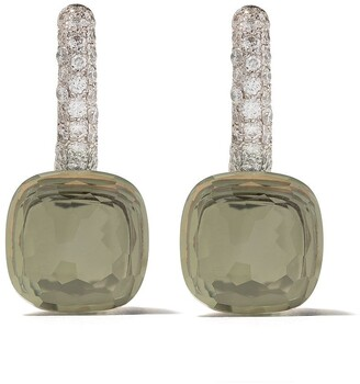 Pomellato 18kt rose & white gold Nudo prasiolite & diamond earrings