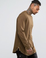Asos Longline Long Sleeve T-Shirt With Curve Hem And Zip