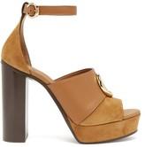 Chloé C-plaque Suede Platform Sandals - Womens - Tan