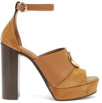 Chloé C-plaque Suede Platform Sandals - Tan