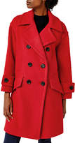 Warehouse Double Breasted Wool Blend Coat, Bright Red