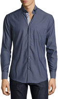 Neiman Marcus Trim-Fit Regular-Finish Cross-Print Dress Shirt, Navy