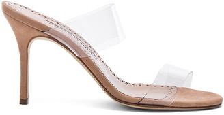 Manolo Blahnik PVC Scolto Sandals in Nude Suede | FWRD