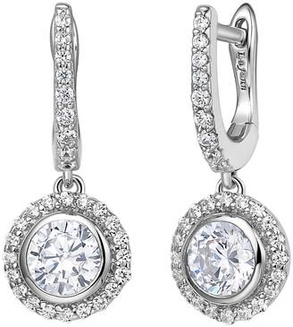 Lafonn Platinum Plated Sterling Silver Simulated Diamond Halo Drop Earrings