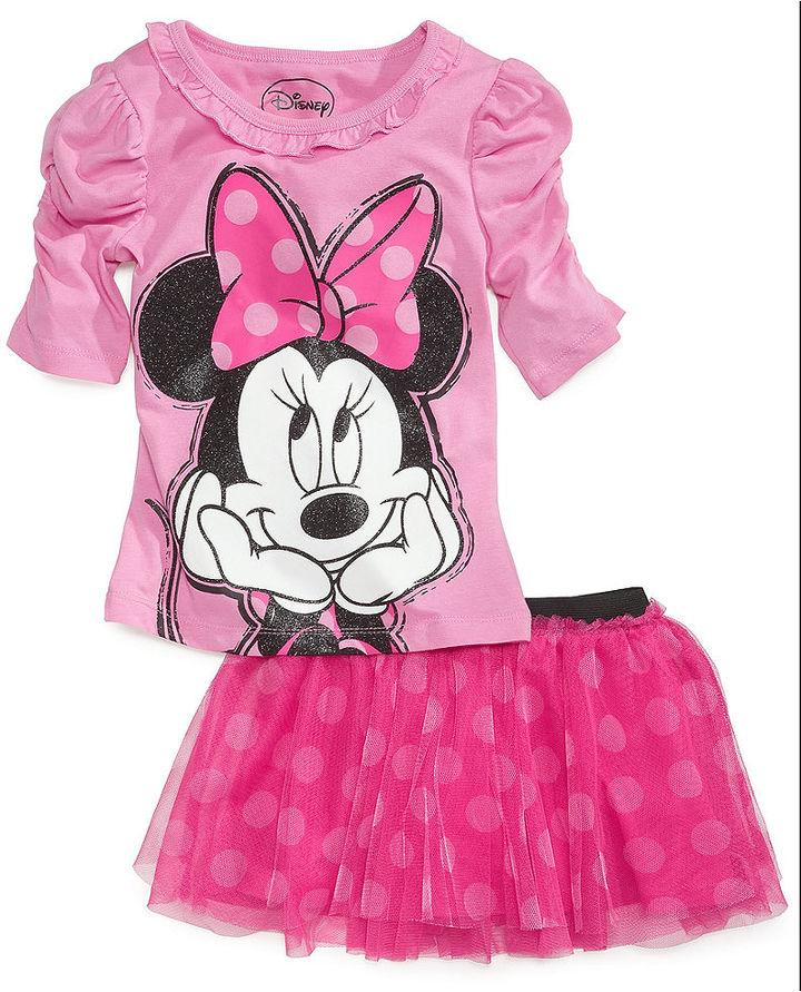 Disney Kids Set, Little Girls 2-Piece Minnie Mouse Shirt and Scooter Skirt