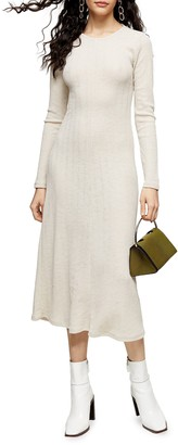Topshop Open Back Long Sleeve Midi Dress