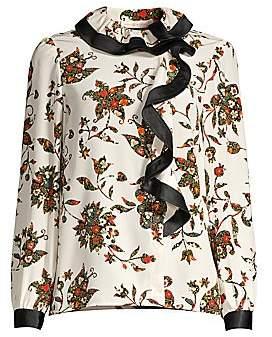 Tory Burch Women's Floral Silk Ruffle Blouse