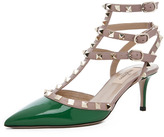 Valentino Rockstud Patent Leather Sling Back T.65 in Pop Green & Nude & Platinum
