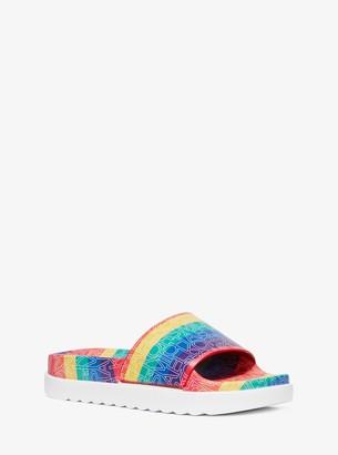 MICHAEL Michael Kors Tyra Graphic Logo Slide Sandal