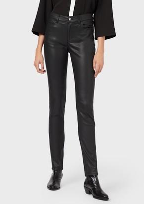 Emporio Armani J18 Super-Skinny Trousers In Coated Stretch Gabardine