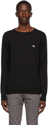 MAISON KITSUNÉ Black Wool Tricolor Fox Crewneck Sweater