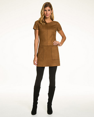 Le Château Faux Suede Crew Neck Mini Dress
