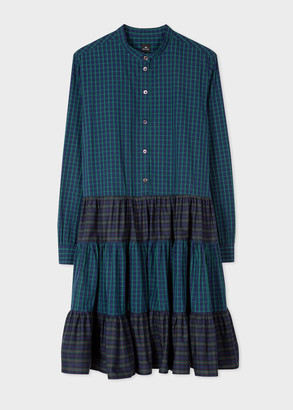 Women's Tartan Panelled Cotton Shirt Dress
