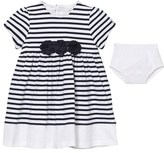 Emile et Rose Kiki Navy Stripe Dress with Corsage Detail