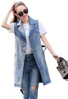 CLJJ7 Women's Casual Laple Sleevless Mid-Long Denim Jean Vest Plus Size