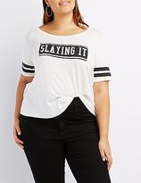 Charlotte Russe Plus Size Slaying It Football Tee