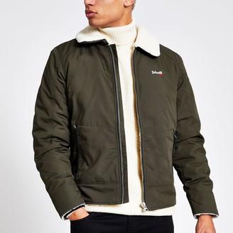 Schott Mens River Island Khaki borg collar jacket
