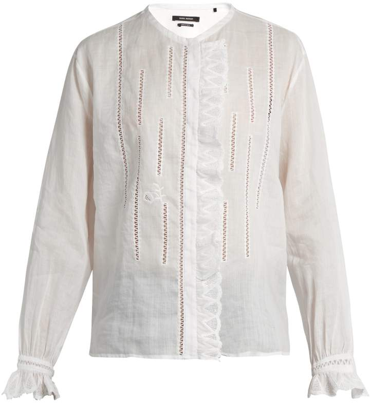 Isabel Marant Amos collarless ruffle-trimmed blouse