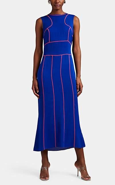 Maison Margiela Women's Topstitched Silk Sheath Dress - Blue