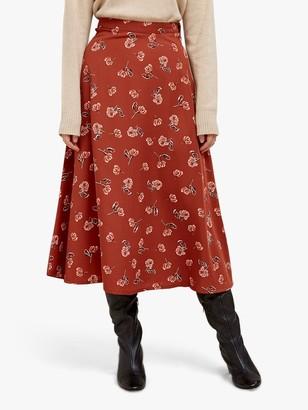 People Tree Alison Floral Midi Skirt, Brown