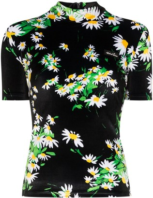 Richard Quinn Rich turtleneck fitted floral top