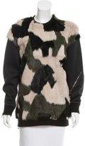 3.1 Phillip Lim Fur-Paneled Long Sleeve Sweatshirt