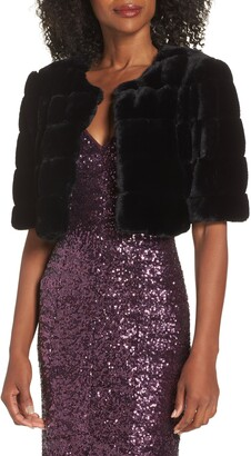 Eliza J Faux Fur Crop Jacket