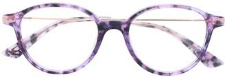 McQ Swallow Tortoiseshell Round-Frame Glasses