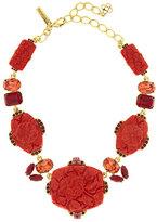 Oscar de la Renta Floral Carved Resin Necklace, Cayenne