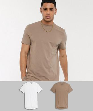ASOS DESIGN 2 pack longline t-shirt with side splits save