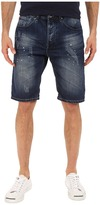 Staple Splatter Denim Shorts in Dark Stone Wash