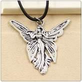 Nobrand No brand Fashion Tibetan Silver Pendant butterfly angel Necklace Choker Charm Black Leather Cord Handmade Jewlery