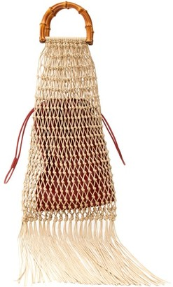 Jil Sander Bamboo-handle Macrame String Bag - Beige Multi